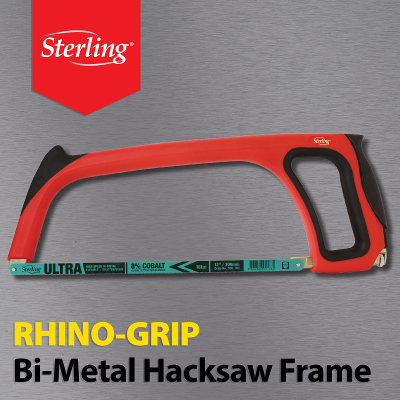 NEW Sterling - Rhino Grip Bi-Metal Hacksaw Frame