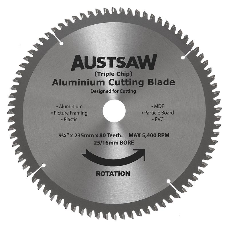 Austsaw - 235mm (9 1/4in) Aluminium Blade Triple Chip - 25/16mm Bore - 80 Teeth
