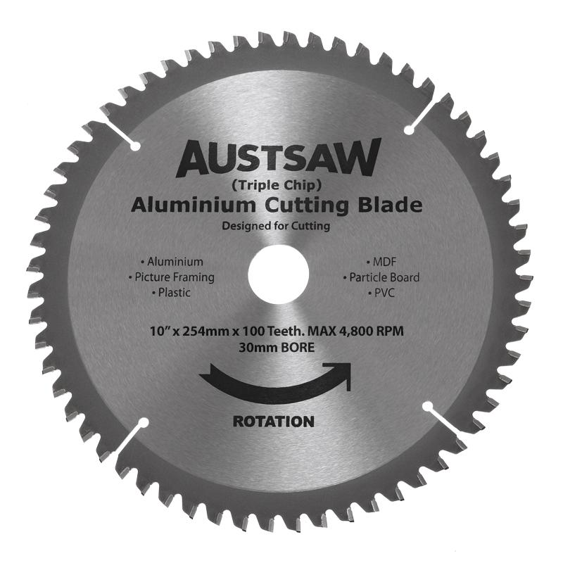 Austsaw - 254mm (10in) Aluminium Blade Triple Chip - 30mm Bore - 100 Teeth