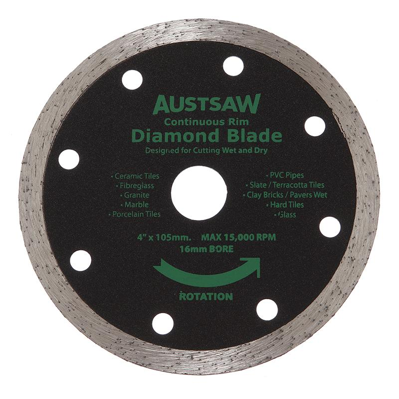 Austsaw - 103mm (4in) Diamond Blade Continuous Rim - 16mm Bore - Continuous