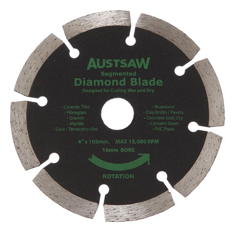Austsaw - 103mm (4in) Diamond Blade Segmented - 16mm Bore - Segmented