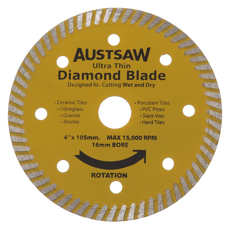 Austsaw - 103mm (4in) Diamond Blade Ultra Thin - 16mm Bore - Ultra Thin