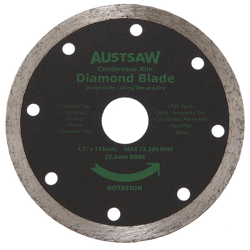 Austsaw - 115mm (4.5in) Diamond Blade Continuous Rim - 22.2mm Bore - Continuous