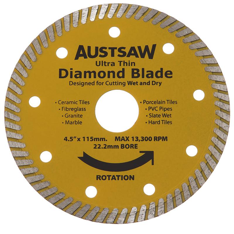 Austsaw - 115mm (4.5in) Diamond Blade Ultra Thin - 22.2mm Bore - Ultra Thin
