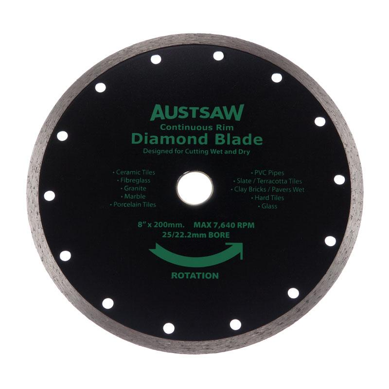 Austsaw 200mm 8in Diamond Blade Continuous Rim 25 22