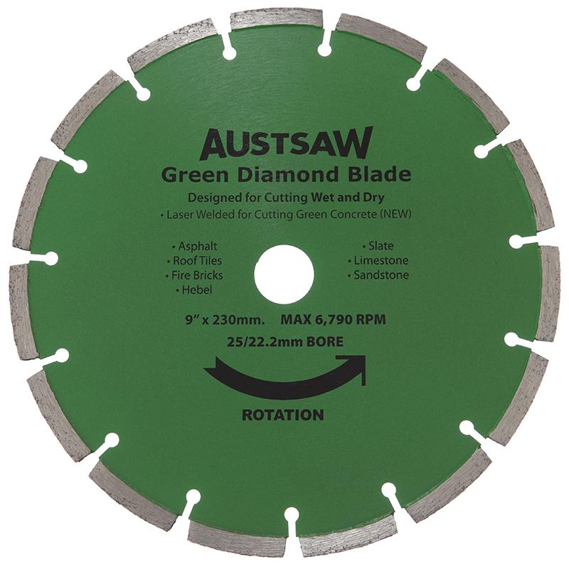 Austsaw 230mm 9in Diamond Blade Green Concrete 25 22