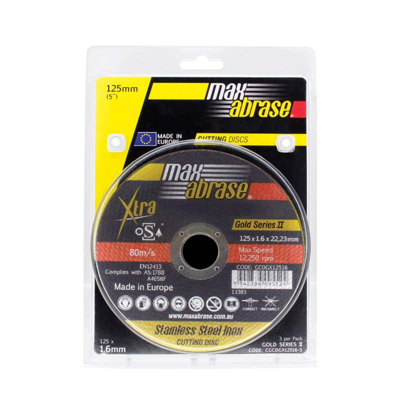 Carded (x3) 125 x 1.6mm Cutting Disc - Stainless Gold Series II