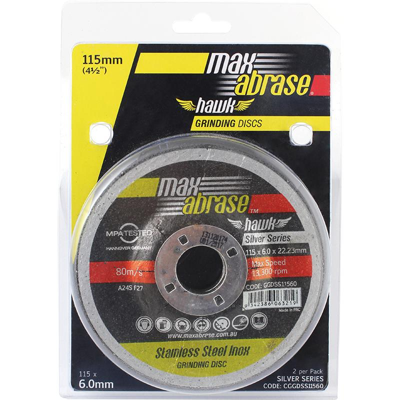 Carded (x2) 100 x 6.0mm Grinding Disc - Stainless Silver Series