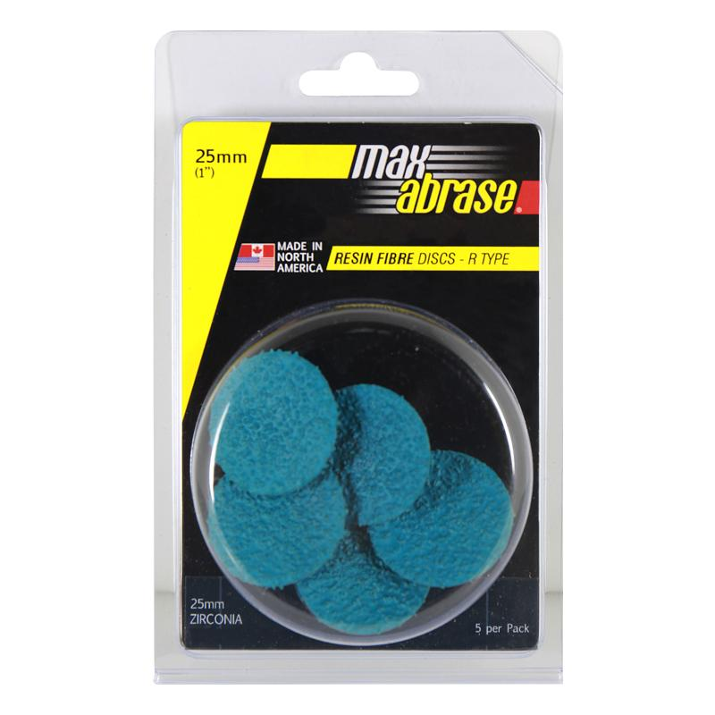 Carded 5 Pack 25mm x Z36 Resin Fibre Disc R Type Zirc. Grit