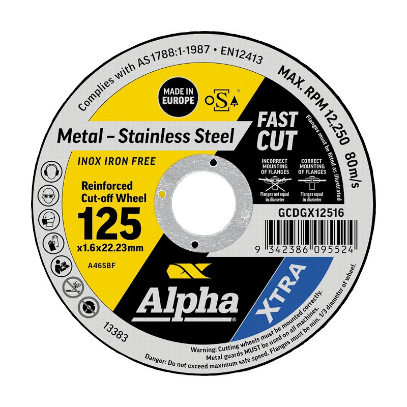 125 x 1.6mm Cutting Disc - Stainless Gold Series II
