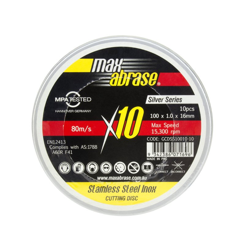 100 x 1.0mm Cutting Disc 10 Pack Tin Stainless Silver Series