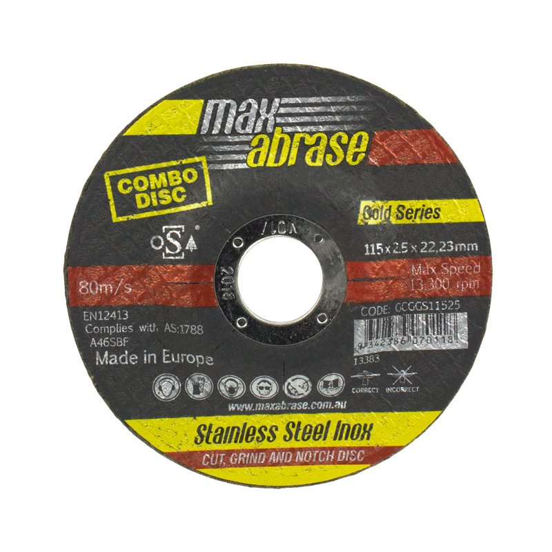 115 x 2.5mm Cut, Grind & Notch Combo Disc - Stainless Gold