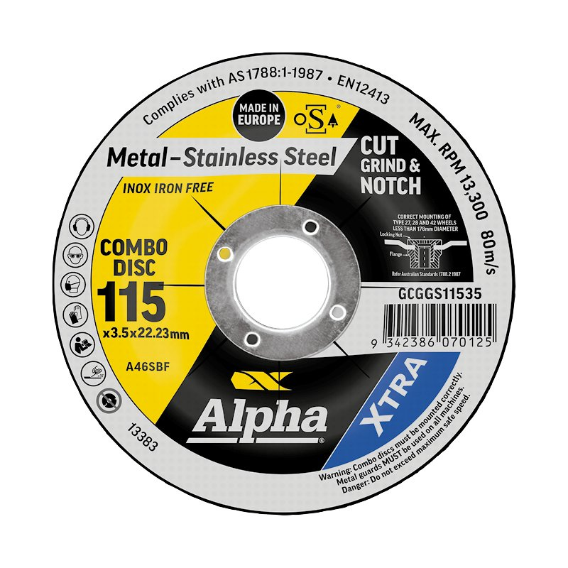 115 x 3.5mm Cut, Grind & Notch Combo Disc - Stainless Gold