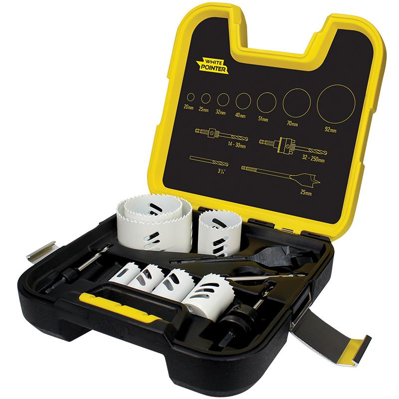 Electricians 11 Piece: White Pointer Holesaw Kit with 70 & 92mm