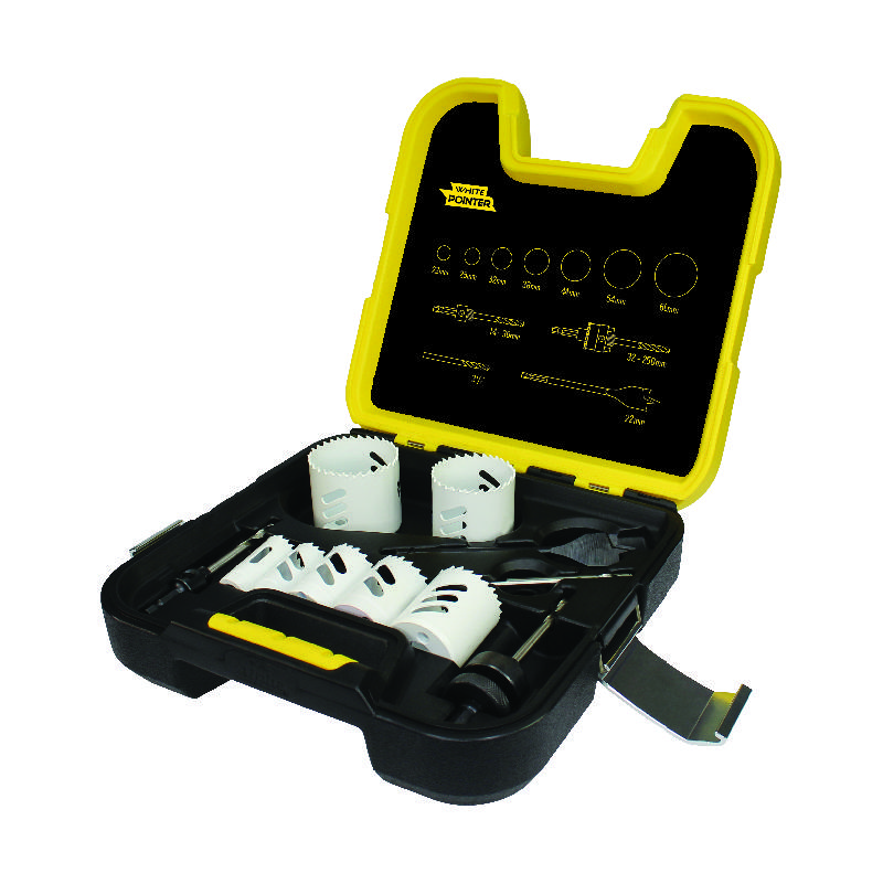 Locksmiths 11 Piece: White Pointer Holesaw Kit