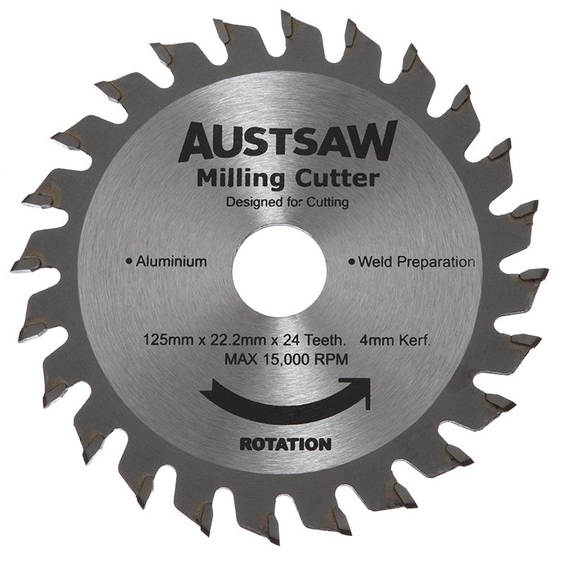 Austsaw - 125mm (5in) 4mm Milling Cutter Blade - 22.2mm Bore - 24 Teeth
