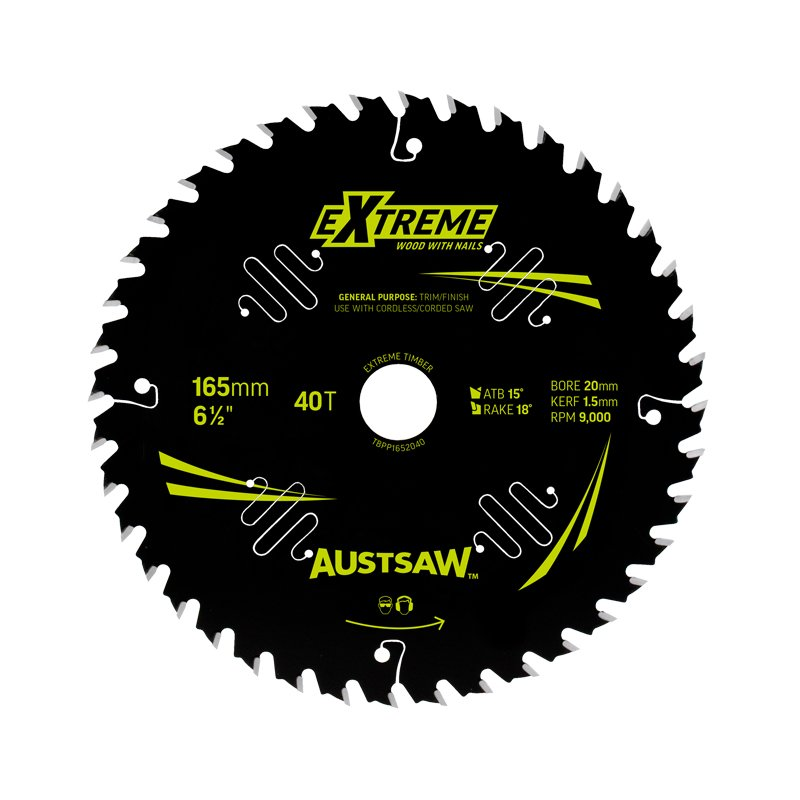 Austsaw Extreme: Wood with Nails Blade 165mm x 20/16 Bore x 40 T Thin Kerf