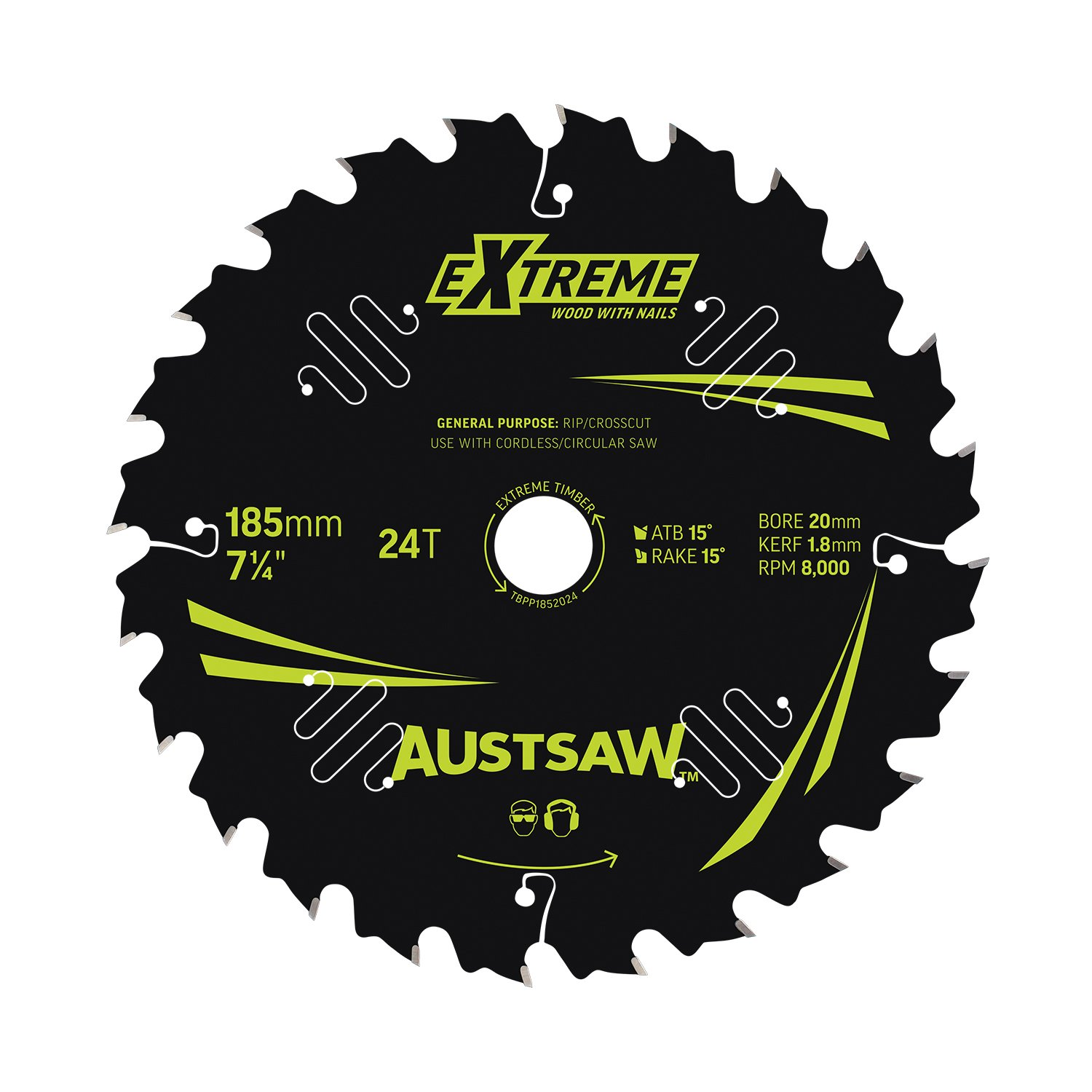 Austsaw Extreme: Wood with Nails Blade 185mm x 20/16 Bore x 24 T