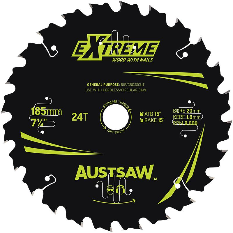 Austsaw Extreme: Wood with Nails Blade 185mm x 20 Bore x 24 T Bulk Pack (x20)