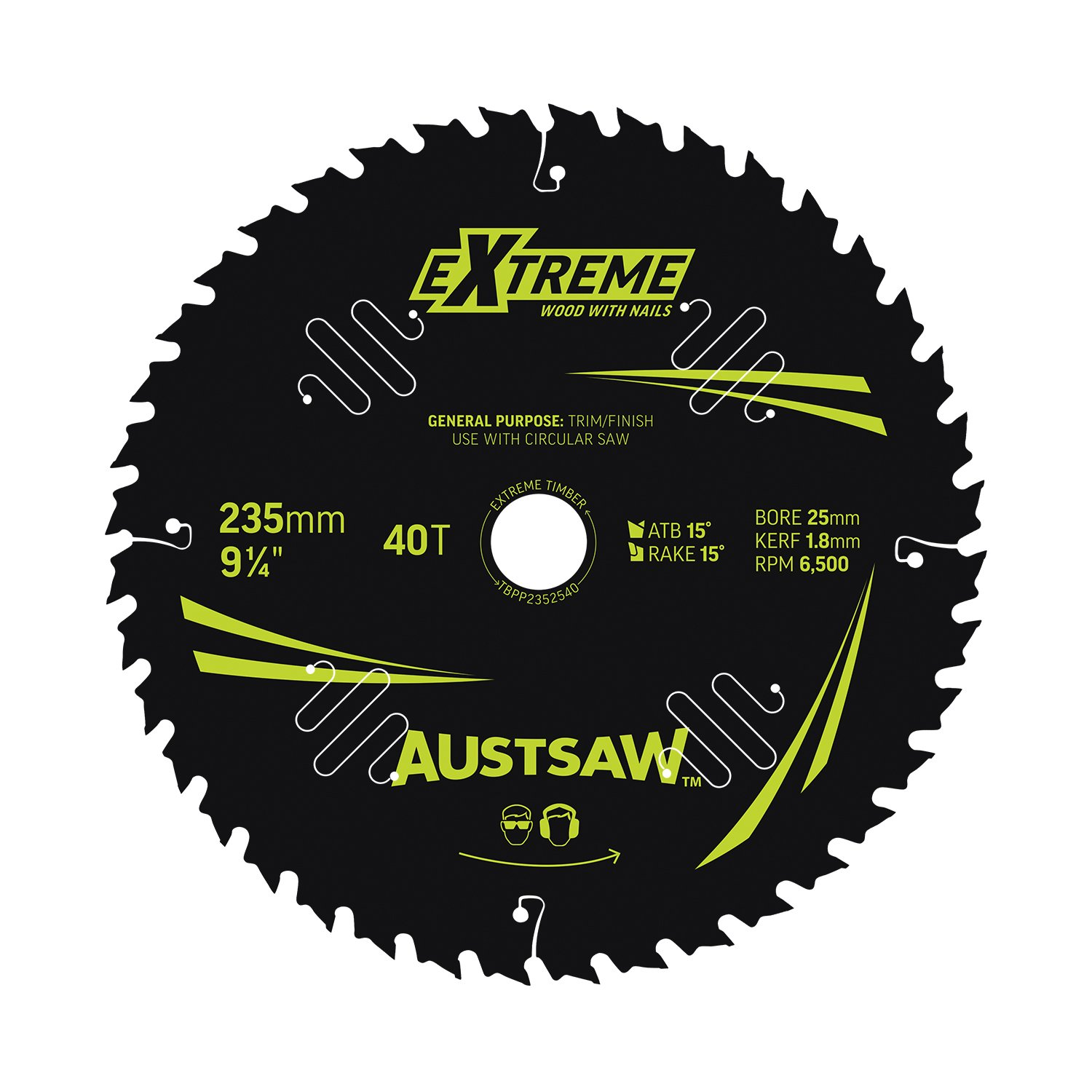 Austsaw Extreme: Wood with Nails Blade 235mm x 25 Bore x 40 T Thin Kerf