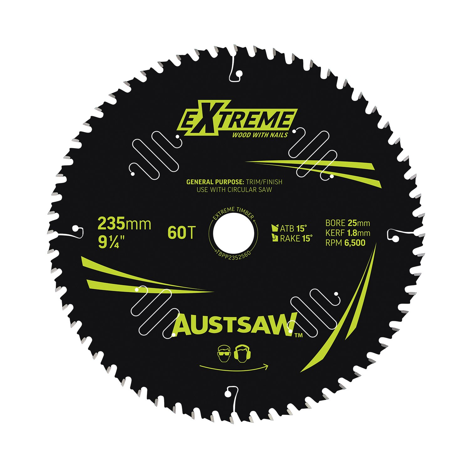 Austsaw Extreme: Wood with Nails Blade 235mm x 25 Bore x 60 T Thin Kerf