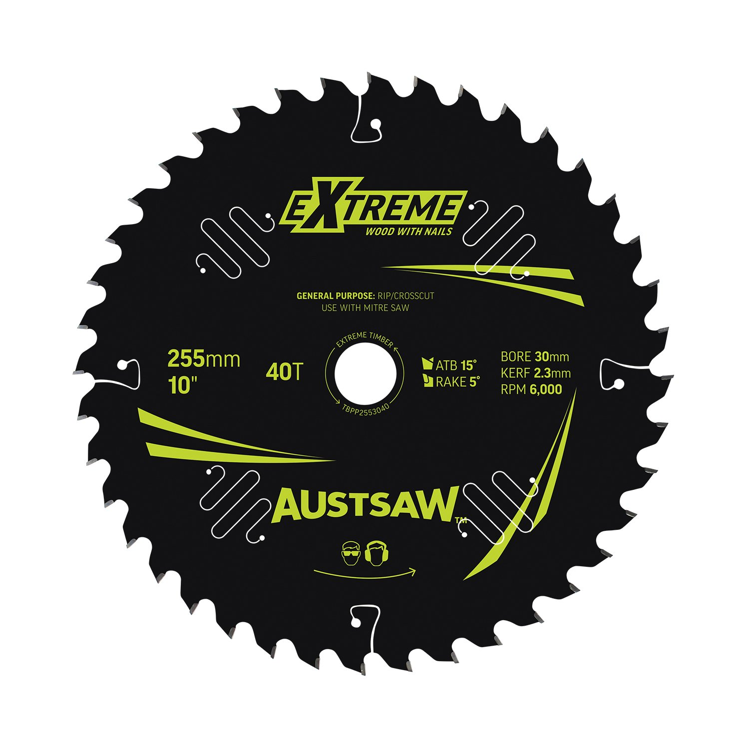 Austsaw Extreme: Wood with Nails Blade 255mm x 30 Bore x 40 T Thin Kerf