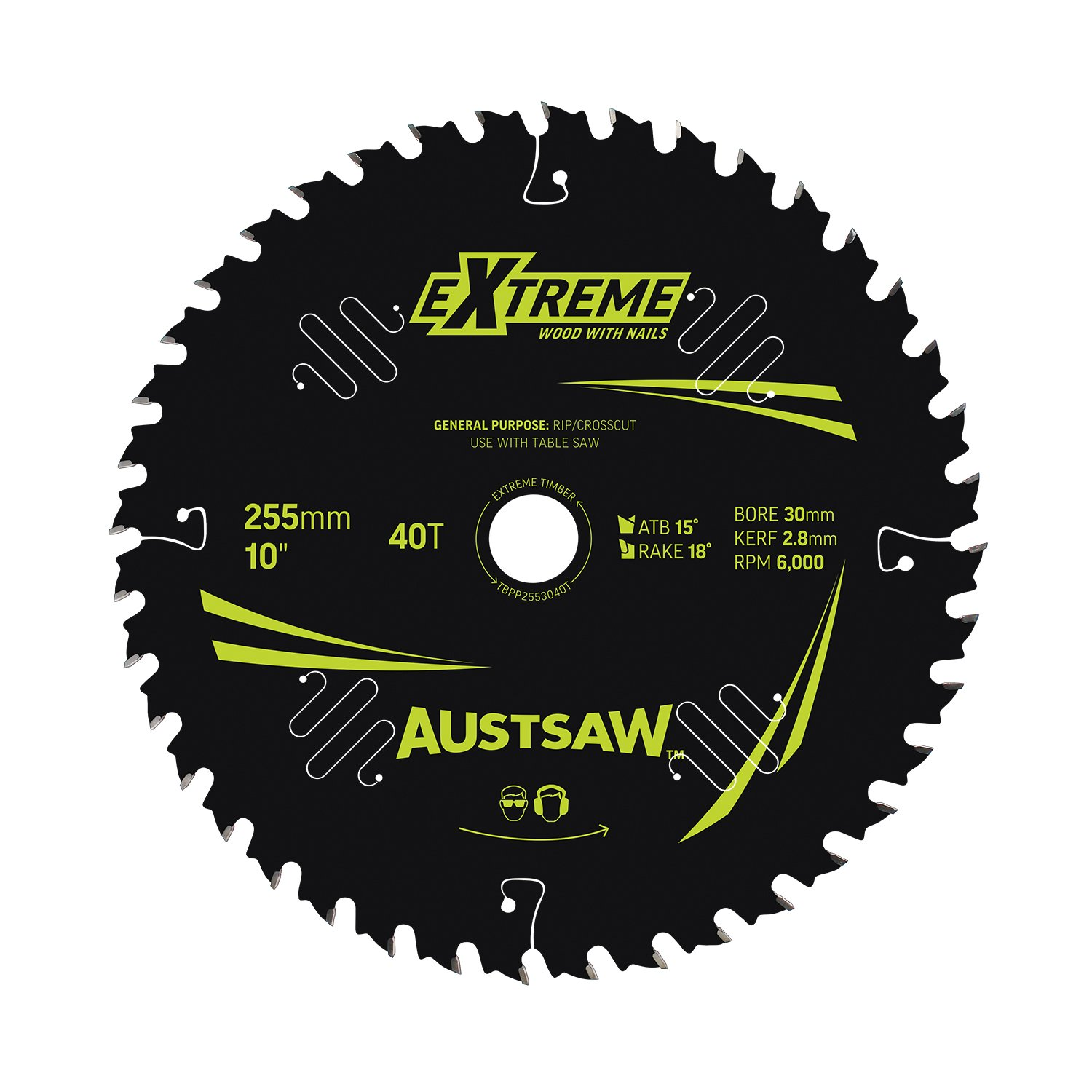 Austsaw Extreme: Wood with Nails Blade 255mm x 30 Bore x 40 T Table Saw