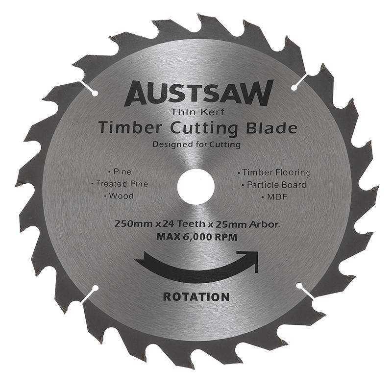 Austsaw - 250mm(10in) Thin Kerf Timber Blade - 25.4mm Bore - 24 Teeth