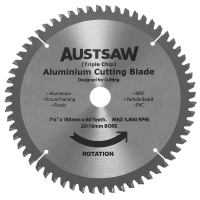 Austsaw - 185mm (7 1/4in) Aluminium Blade Triple Chip - 20/16mm Bore - 60 Teeth