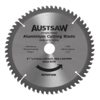 Austsaw - 215mm (8 1/2in) Aluminium Blade Triple Chip - 30mm Bore - 60 Teeth