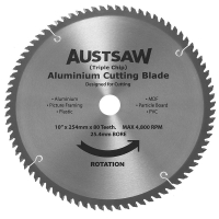 Austsaw - 250mm (10in) Aluminium Blade Triple Chip - 25.4mm Bore - 80 Teeth