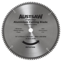 Austsaw - 350mm (14in) Aluminium Blade Triple Chip - 25.4/mm Bore - 100 Teeth