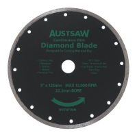 Austsaw - 125mm (5in) Diamond Blade Continuous Rim - 22.2mm Bore - Continuous