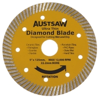 Austsaw - 125mm (5in) Diamond Blade Ultra Thin - 22.2mm Bore - Ultra Thin
