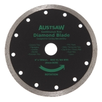 Austsaw - 150mm(6in) Diamond Blade Continuous Rim - 20mm Bore - Continuous