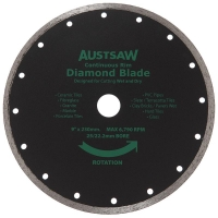 Austsaw - 230mm(9in) Diamond Blade Continuous Rim - 25/22.2mm Bore - Continuous