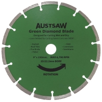 Austsaw - 230mm (9in) Diamond Blade Green Concrete - 25/22.2mm Bore - Green Conc