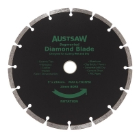 Austsaw - 230mm (9in) Diamond Blade Segmented - 25/22.2mm Bore - Segmented