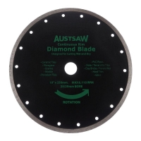 Austsaw - 250mm(10in) Diamond Blade Continuous Rim - 25/20mm Bore - Continuous