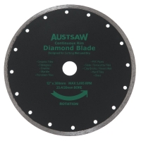 Austsaw - 300mm(12in) Diamond Blade Continuous Rim - 25.4/20mm Bore - Continuous