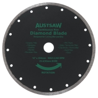 Austsaw - 350mm(14in) Diamond Blade Continuous Rim - 25.4/20mm Bore - Continuous