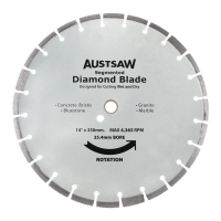 Austsaw - 350mm(14in) Diamond Blade Segmented Hard Brick - 25.4/20mm Bore - Hard