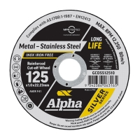 Carded (x10) 125 x 1.0mm Cutting Disc - Stainless Silver Series