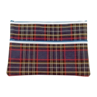 375 x 264mm  2 Zip Tartan Pencil Case