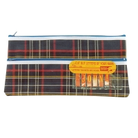 325 x 165mm  2 Zip Tartan Pencil Case with Name