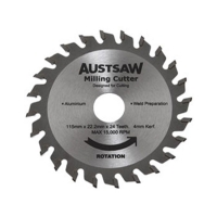 Austsaw - 115mm (4.5in) 4mm Milling Cutter Blade - 22.2mm Bore - 24 Teeth