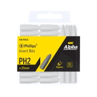 PH2 X 25mm Phillips Insert Bits - 100pcs Bulk Pack