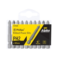 PH2 x 50mm Phillips Ribbed Power Bits - Handipack (x10)