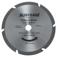 Austsaw - 235mm (9 1/4in) Redgum Sleeper Blade - 25mm Bore - 6T Teeth