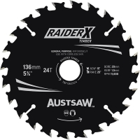 Austsaw RaiderX Timber Blade 136mm x 20/16 Bore x 24 T Thin Kerf